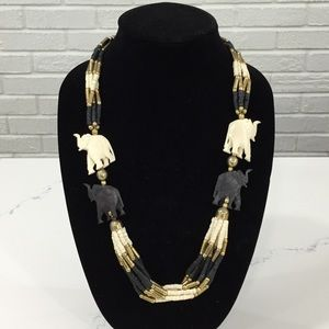 Vintage Black White Carved Elephant Bone Necklace